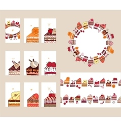 Templates with different fruit cake slices vector image