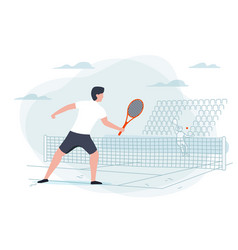 Tennis game man with racket vector