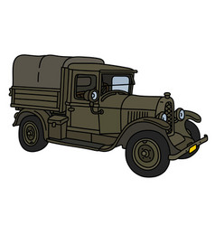 the vintage military truck vector image