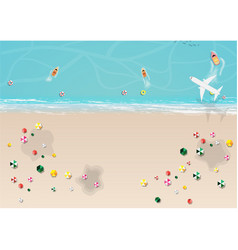 Top view of beach with umbrella vector