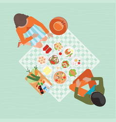 Top view of happy couple picnic resting outdoors vector