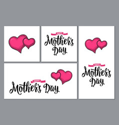 two human heart happy mother s day lettering vector image