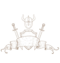 viking set black hand drawn sketch vector image