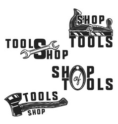 Vintage tools shop emblems vector