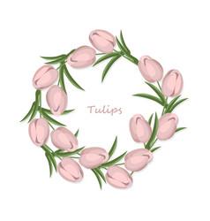 Vintage tulips flowers round wreath card vector