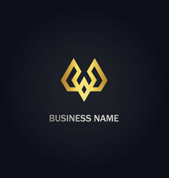 w initial shape line geometry gold logo vector image