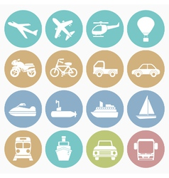 white icons vehicle vector image