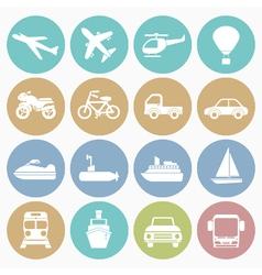 white icons vehicle vector image