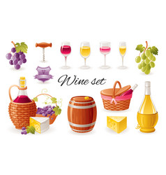 wine making icon set with grapes red wine bottle vector image