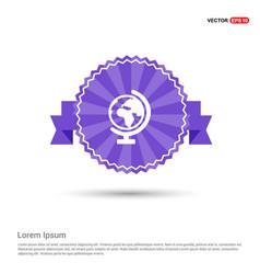 World globe icon - purple ribbon banner vector