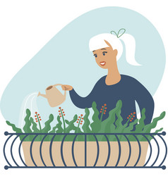 young woman watering flowers on her city balcony vector image