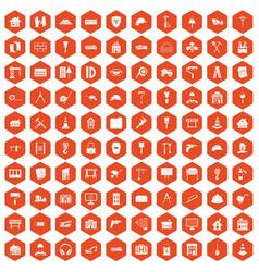 100 construction icons hexagon orange vector