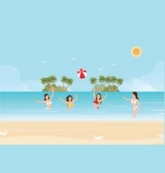 bikini woman play volleyball in the sea vector image