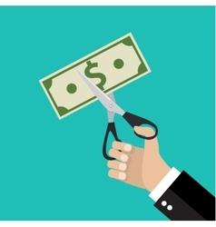 Hand cutting money bill in half with scissors vector image