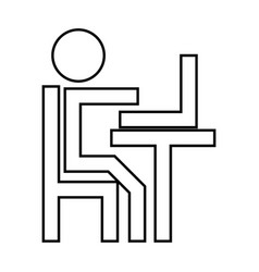 human working at the laptop it is black icon vector image