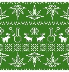 Pixel art christmas weed seamless vector