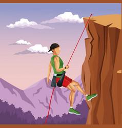 Scene landscape man mountain descent rock climbing vector