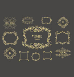 set of vintage floral frames and line vector image vector image