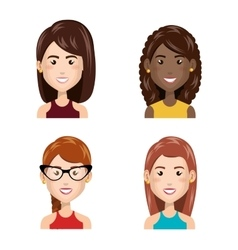 young people set avatars vector image
