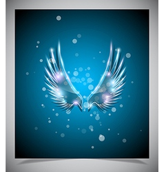 Abstract blue background with glass wings vector image