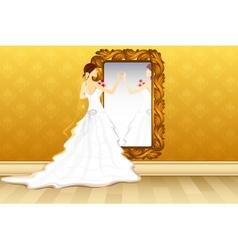 Bride in front of Mirror vector image vector image