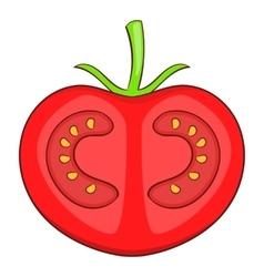 Fresh red tomato icon cartoon style vector image