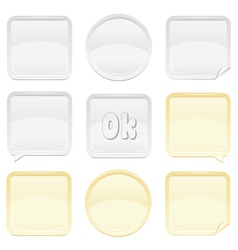 Gold and silver shiny button and sticker set vector image vector image