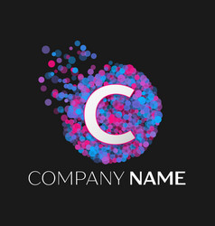 letter c logo with blue purple pink particles vector image