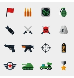 Military and war icons flat vector image
