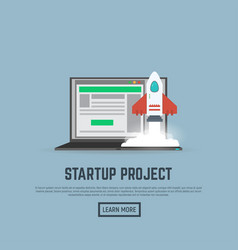 start up rocket and laptop vector image