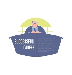 Successful career banner with big boss vector image