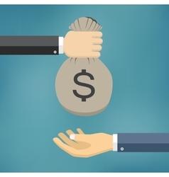 Human hand gives money bag to another person vector image vector image