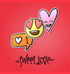 love stickers emoji icons emoticons vector image vector image
