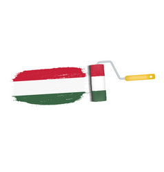 brush stroke with hungary national flag isolated vector image vector image