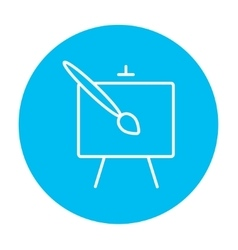 Easel and paint brush line icon vector image
