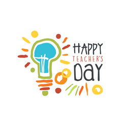 Happy teachers day label back to school logo vector