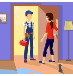 Housewife Meets Master Repairman vector image vector image