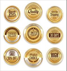 sale retro vintage golden badges and labels 08 vector image