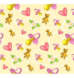 Seamless baby pattern with pacifier heart teddy vector image