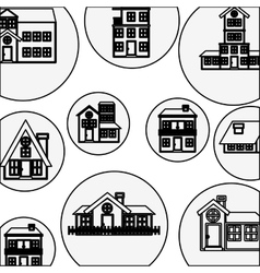 silhouette pattern with houses logo design vector image