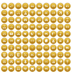 100 transport icons set gold vector