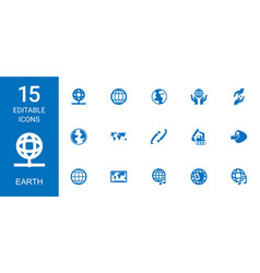 15 earth icons vector image