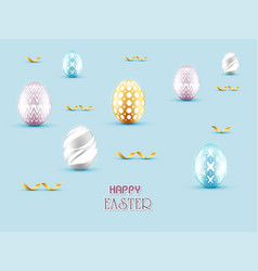 3d happy easter day with gold ribbon and eggs vector image