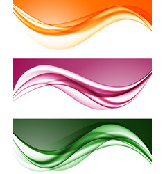 Abstract colorful wavy lines set vector