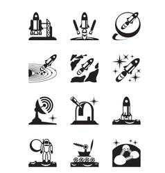 Aerospace mission set icons vector