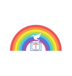 An open bible a rainbow covenant vector