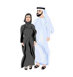 arab couple in tradition muslim wearing abaya vector image