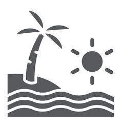 beach glyph icon travel and vacation sea sign vector image