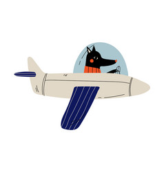black dog pilot flying on retro plane in sky vector image