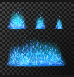blue fire flames light hot blazing danger and vector image